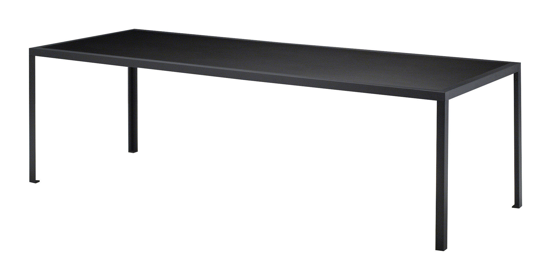 Möbel - Tische - Tavolo rechteckiger Tisch - rechteckig - L 200 cm - Zeus - Schwarz - 200 x 90 cm - bemalter Stahl, Linoleum