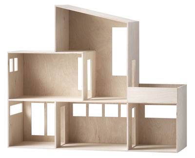 Furniture - Bookcases & Bookshelves - Funkis House Large Shelf - L 66 x H 55 cm by Ferm Living - Plywood - Natural plywood