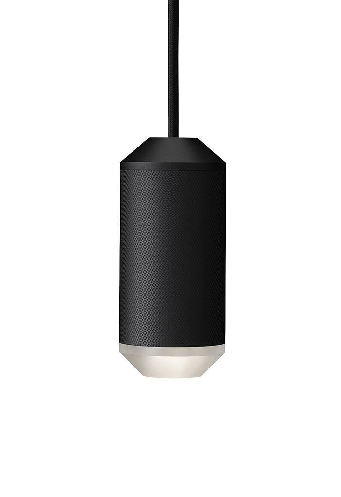 Luminaire - Suspensions - Suspension Backbeat / Résille de métal - Ø 6,5 x H 14,5 cm - Rewired - Noir / Diffuseur blanc - Aluminium, PMMA