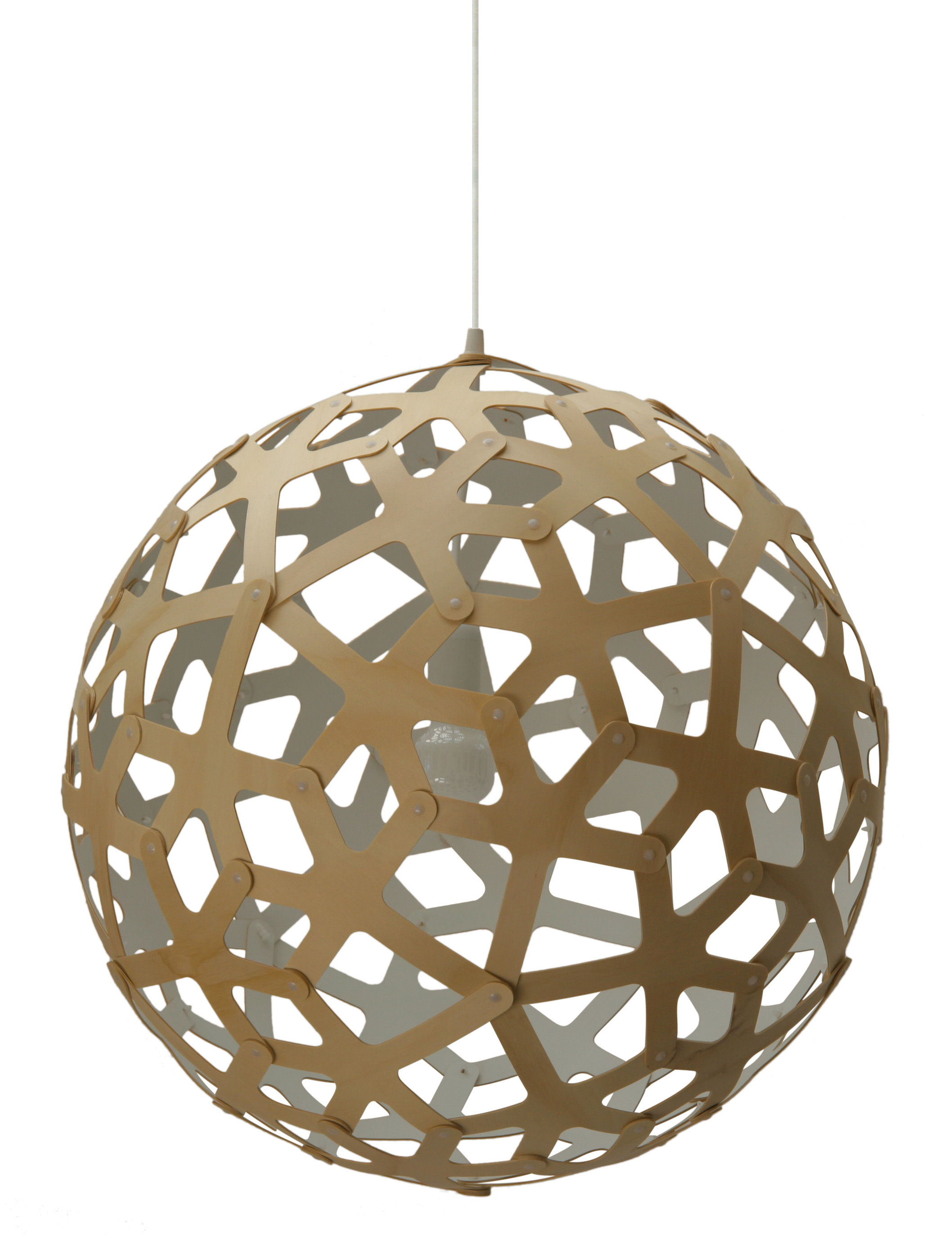 Luminaire - Suspensions - Suspension Coral / Ø 40 cm - Bicolore blanc & bois - David Trubridge - Blanc / Bois naturel - Pin
