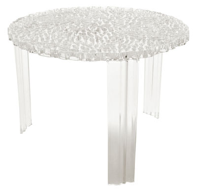 Mobilier - Tables basses - Table basse T-Table Medio / Ø 50 x H 36 cm - Kartell - Cristal - PMMA