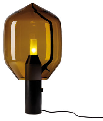 Lighting - Table Lamps - Lighthouse Table lamp - H 69,5 cm by Established & Sons - Venini te amber shade with matt Belgian black marble - Anodized aluminium, Marquina marble, Mouth blown glass