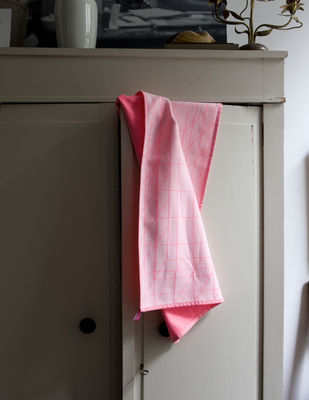 Kitchenware - Tea Towels & Aprons - S&B Tea towel - set of 2 by Hay - Box (fluorescent pink & red) - Cotton