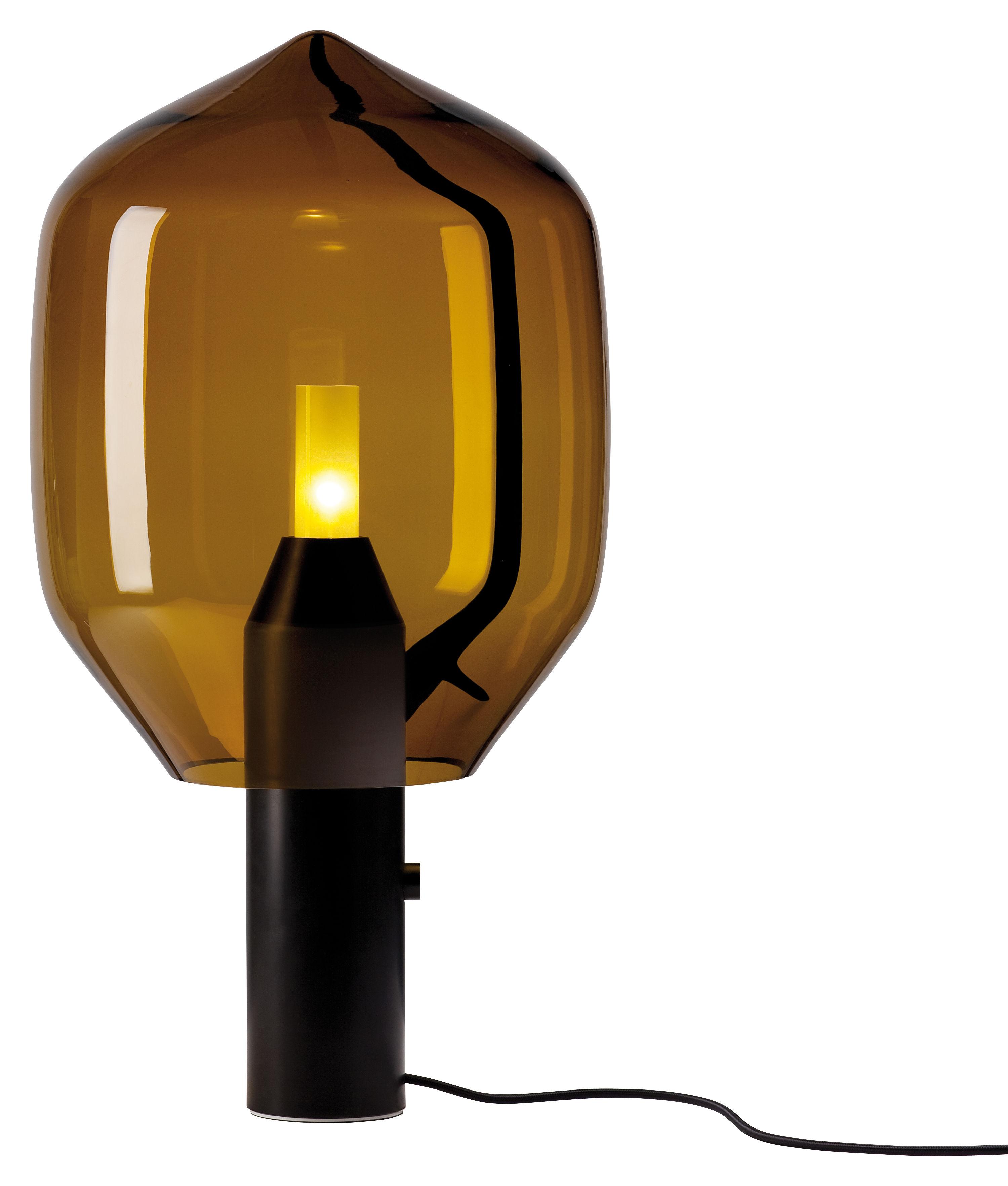 Leuchten - Tischleuchten - Lighthouse Tischleuchte H 69,5 cm - Established & Sons - Diffusor aus bernsteinfarbenem Glas / Sockel aus schwarzem Marmor - eloxiertes Aluminium, Marbre Marquina, mundgeblasenes Glas