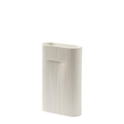 Déco - Vases - Vase Ridge Medium / H 35 cm - Céramique - Muuto - Blanc cassé - Faïence