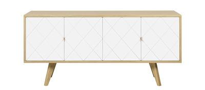 Möbel - Kommode und Anrichte - Butterfly Anrichte / L 160 cm - POP UP HOME - Eiche / weiß - Eichensperrholz, massive Eiche, Pressspan, bemalt