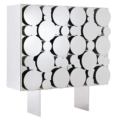 Möbel - Kommode und Anrichte - Gagà Anrichte / L 115 x H 150 cm - Opinion Ciatti - Fronttüren polierter Stahl / Korpus weiß - lackierte Holzfaserplatte, Polierter Edelstahl