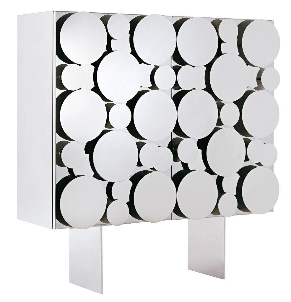 Möbel - Kommode und Anrichte - Gagà Anrichte / L 115 x H 150 cm - Opinion Ciatti - Fronttüren polierter Stahl / Korpus weiß - Acier inox poli, lackierte Holzfaserplatte