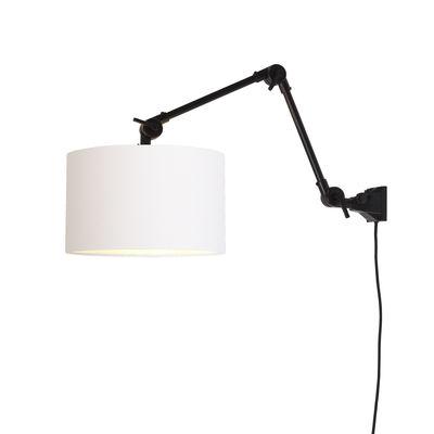 Luminaire - Appliques - Applique avec prise Amsterdam Medium / Abat-jour tissu - L 85 cm - It's about Romi - Noir / Abat-jour blanc - Fer, Tissu