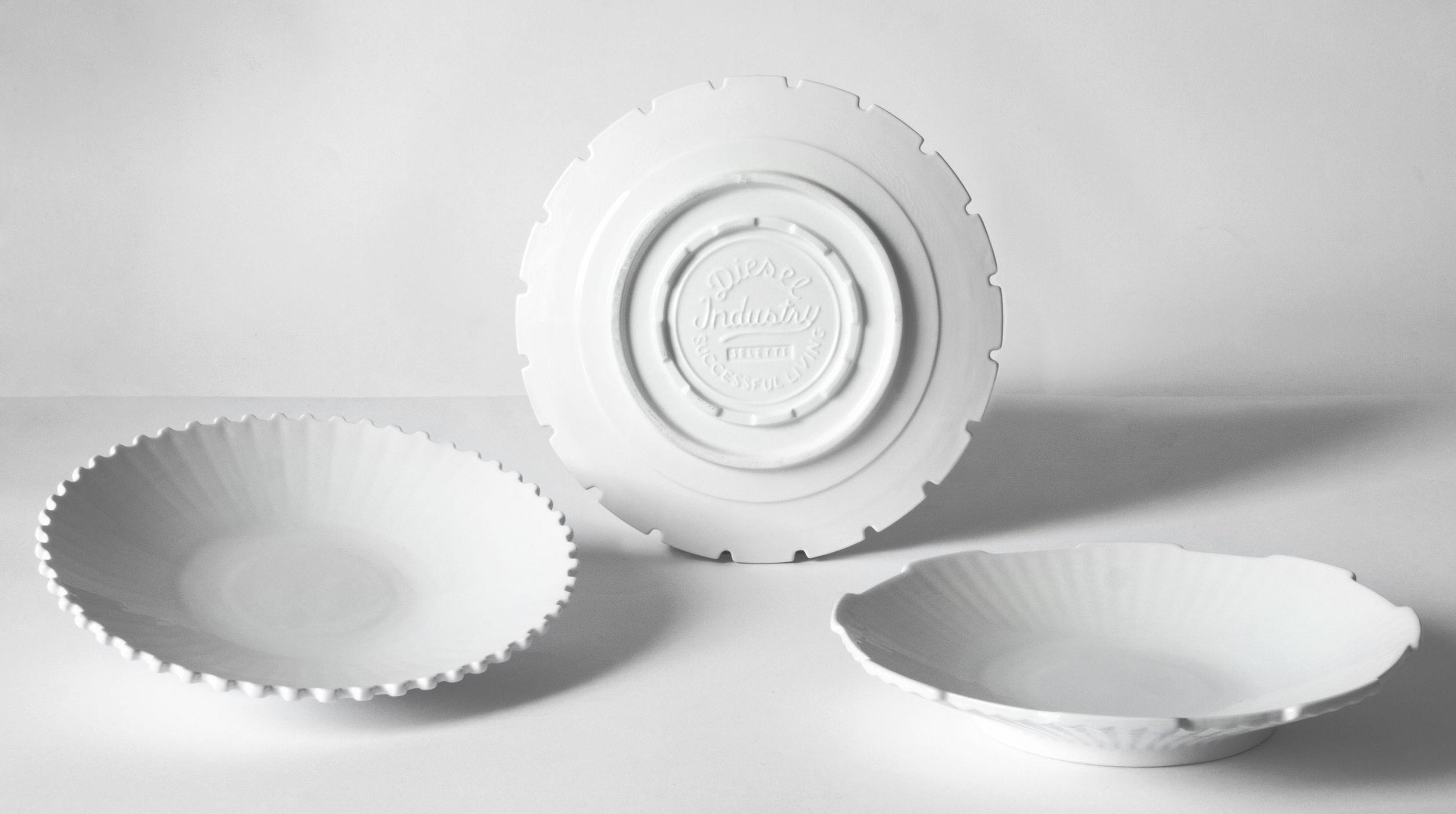 Arts de la table - Assiettes - Assiette creuse Machine Collection / Ø 23,2 cm  - Set de 3 - Diesel living with Seletti - Blanc - Porcelaine