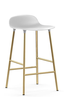 Furniture - Bar Stools - Form Bar stool - / H 65 cm – Brass foot by Normann Copenhagen - White / Brass - Brass plated steel, Polypropylene