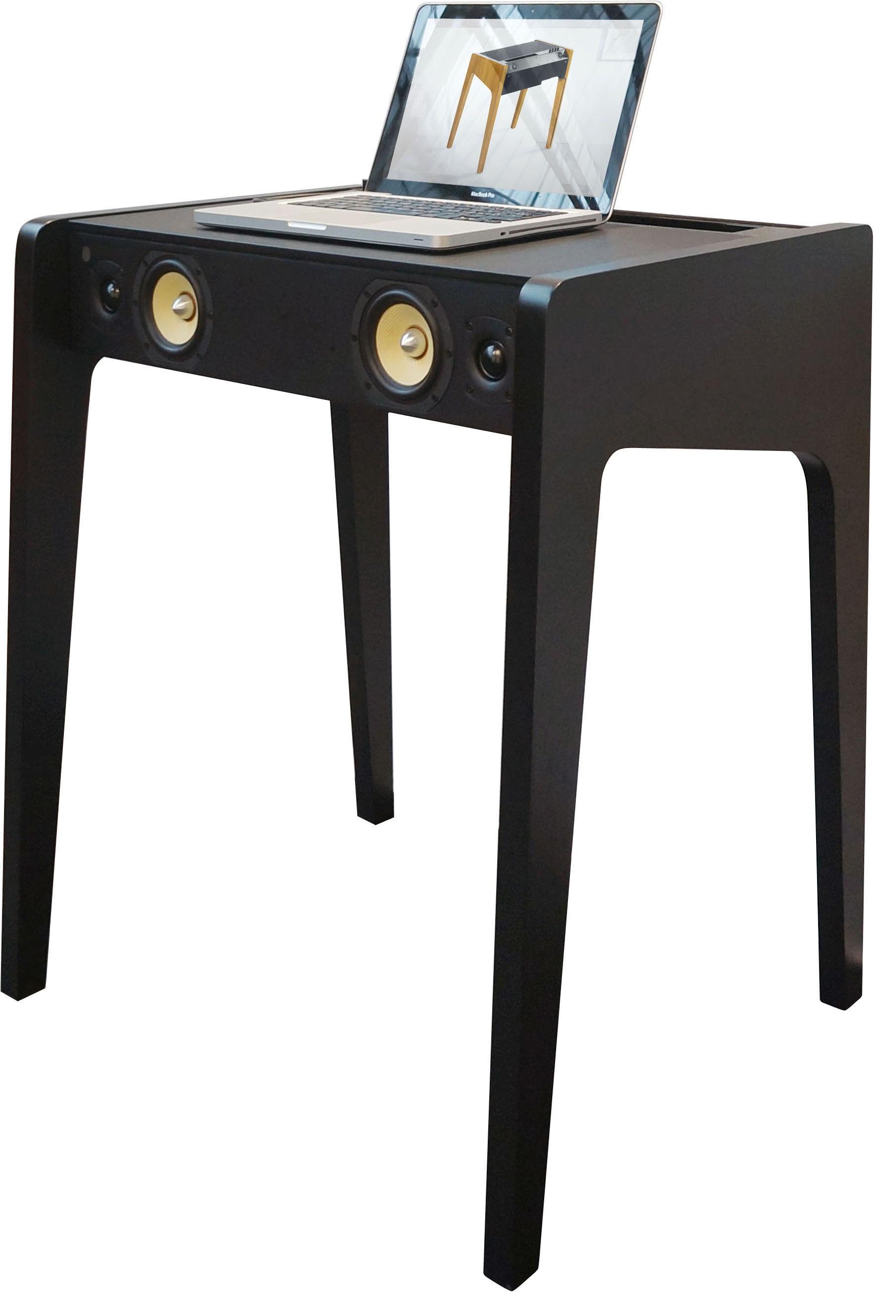 Furniture - Console Tables - LD 130 Bluetooth speaker - Laptop, iPhone & iPod compatible - W 69 cm by La Boîte Concept - Matt black - Leather, MDF