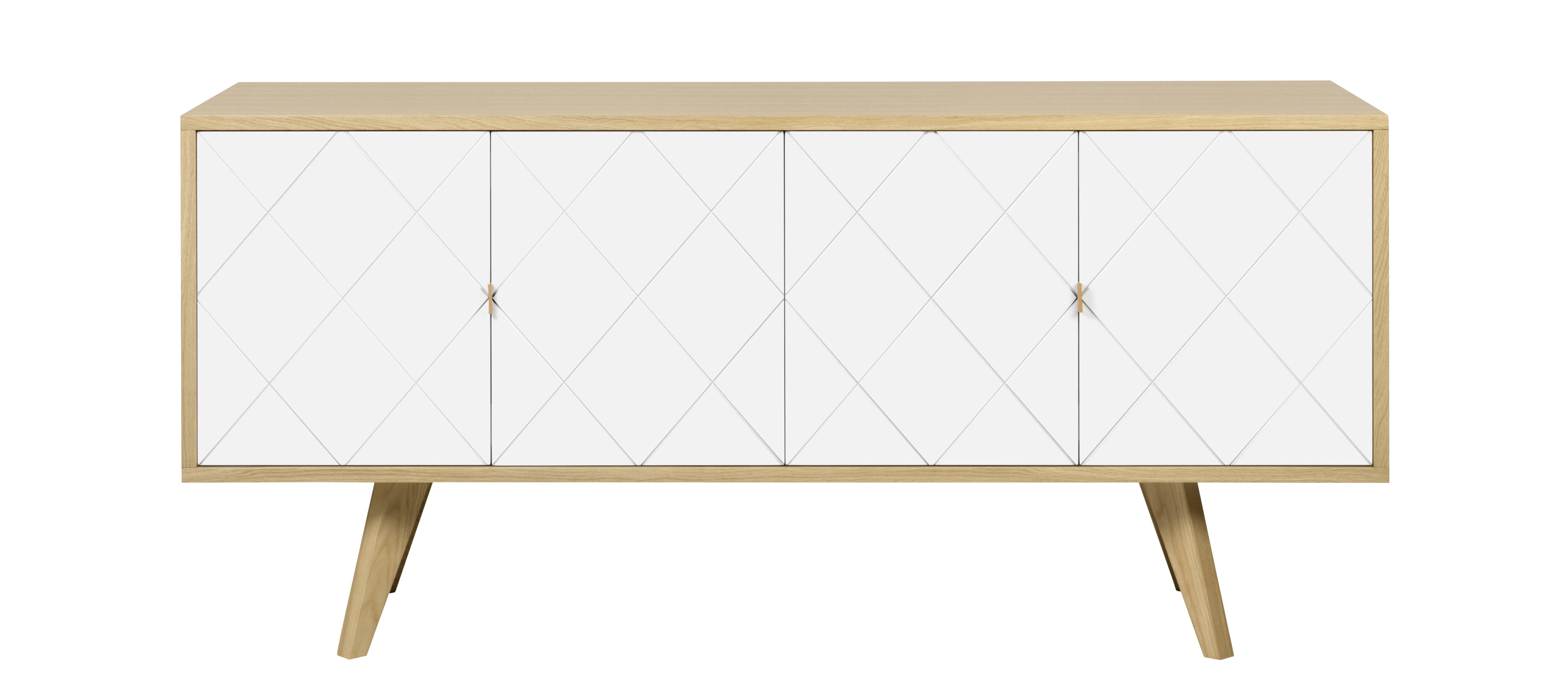 Mobilier - Commodes, buffets & armoires - Buffet Butterfly / L 160 cm - POP UP HOME - Chêne / Blanc - Aggloméré peint, Chêne massif, Contreplaqué chêne