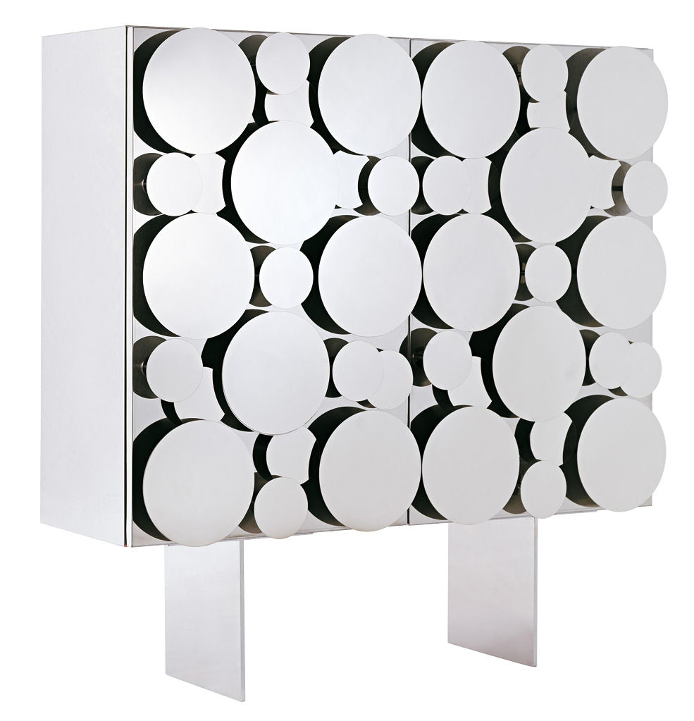 Mobilier - Commodes, buffets & armoires - Buffet Gagà / L 115 x H 150 cm - Opinion Ciatti - Façade acier poli / Structure blanche - Acier inox poli, MDF laqué