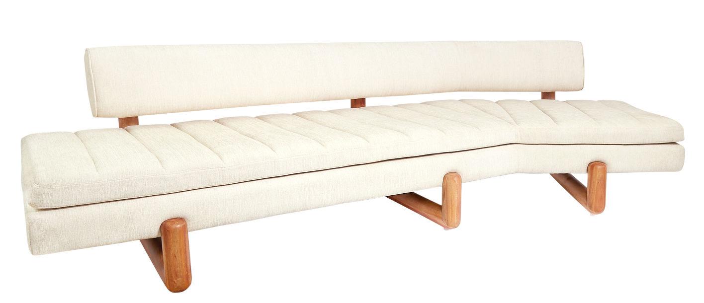 Mobilier - Canapés - Canapé droit Aspen / L  270, 5 cm - Pieds acajou - Jonathan Adler - Blanc cassé - Acrylique, Bois, Coton