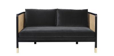 Canapé droit Cannage / L 160 cm - Velours - RED Edition noir,naturel,laiton,gris chic en tissu