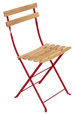 Chaise pliante Bistro / Métal & bois - Fermob bois,coquelicot en bois