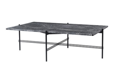 Furniture - Coffee Tables - TS Coffee table - / Gamfratesi - 130 x 80 cm - Marble by Gubi - Grey marble/Black legs - Lacquered metal, Marbre Emperador