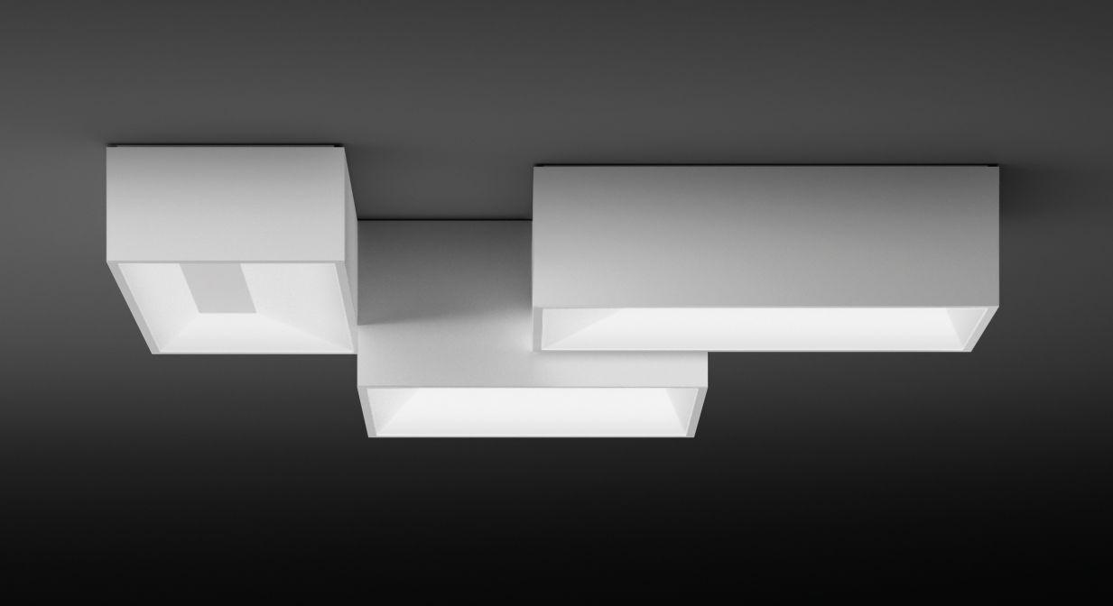 Leuchten - Deckenleuchten - Link Deckenleuchte / 95 x 80 cm - Vibia - Weiß - Methacrylate