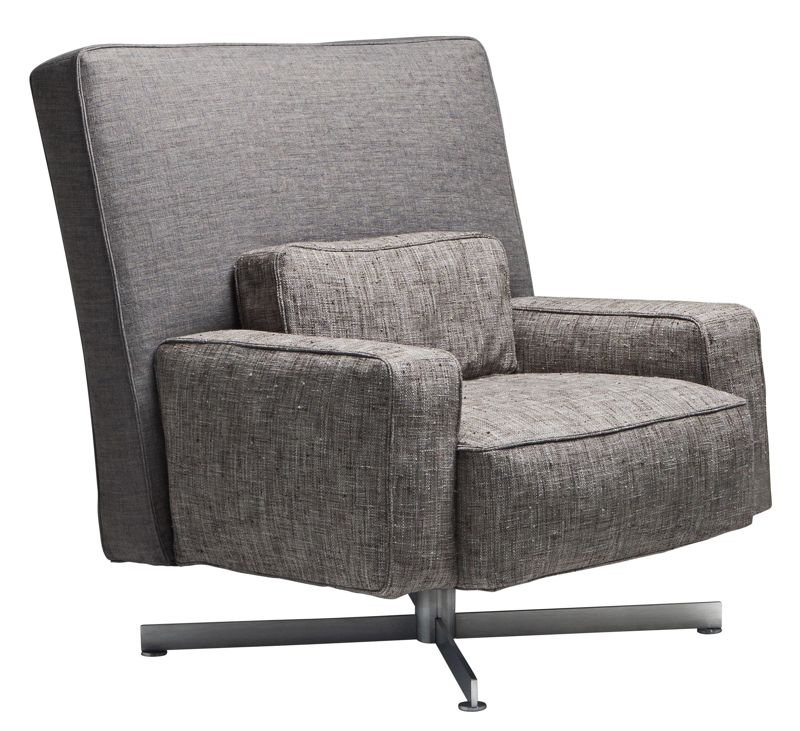Möbel - Lounge Sessel - Cinemascope Drehsessel / gepolstert - Stoff - Driade - Rückenlehne grau & Sitzfläche taupe / Fuß Stahl - Gänsedaune, Gewebe, Polyurethan-Schaum, Stahl