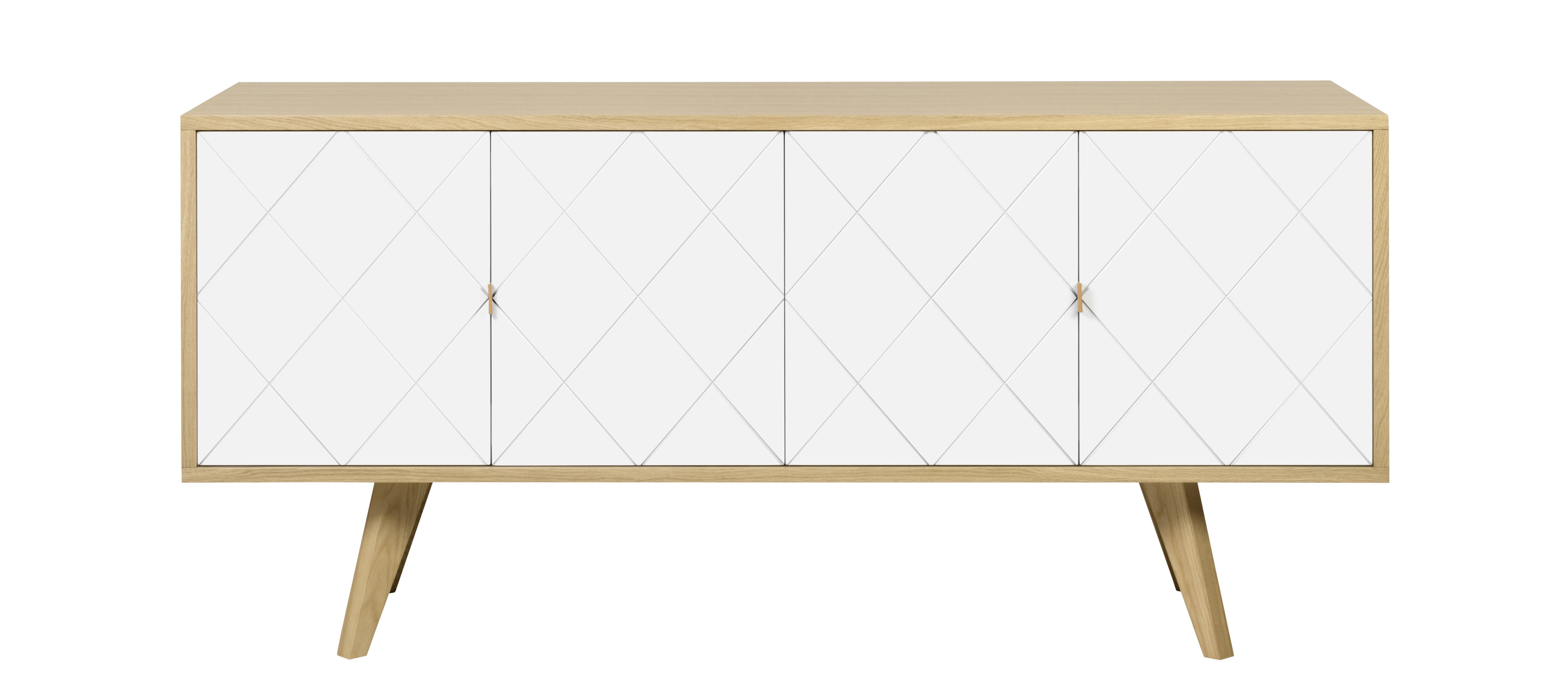 Furniture - Dressers & Storage Units - Butterfly Dresser - / L 160 cm by POP UP HOME - Oak / White - Oak plywood, Painted chipboard, Solid oak