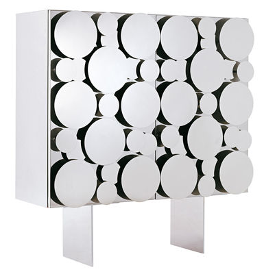 Furniture - Dressers & Storage Units - Gagà Dresser by Opinion Ciatti - Polished steel / White structure - Lacquered MDF, Polished stainless steel