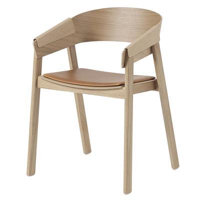Mobilier - Chaises, fauteuils de salle à manger - Fauteuil Cover / Bois - Assise cuir - Muuto - Chêne / Cuir Cognac - Chêne, Cuir pleine fleur