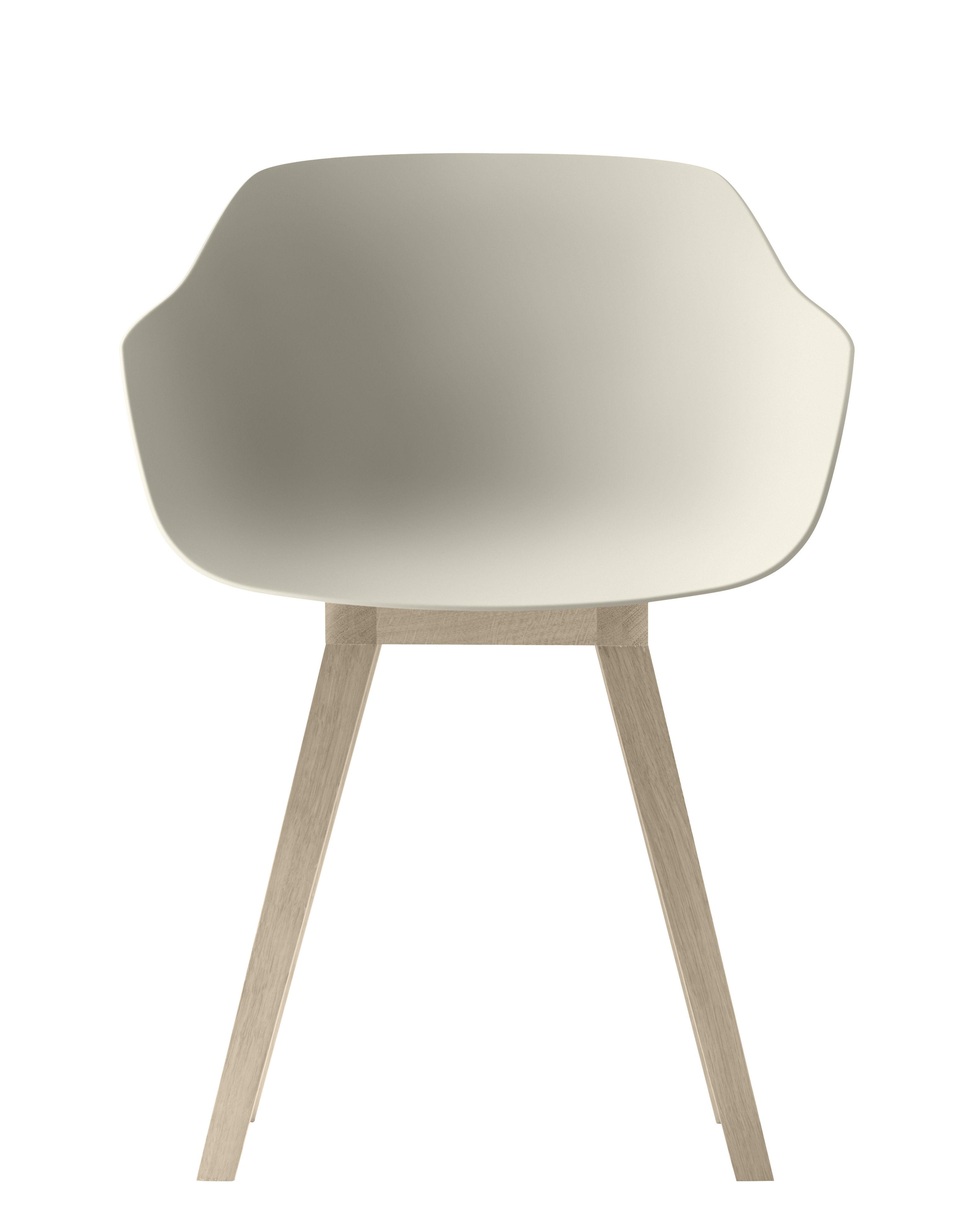 Mobilier - Chaises, fauteuils de salle à manger - Fauteuil Kuskoa Bi / Bioplastique & pieds bois - Alki - Coque sable / Pieds chêne - Bioplastique, Chêne massif