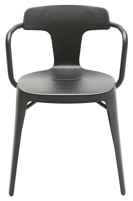 Mobilier - Chaises, fauteuils de salle à manger - Fauteuil T14 empilable / Inox - Intérieur /extérieur - Tolix - Noir mat - Acier inoxydable recyclé