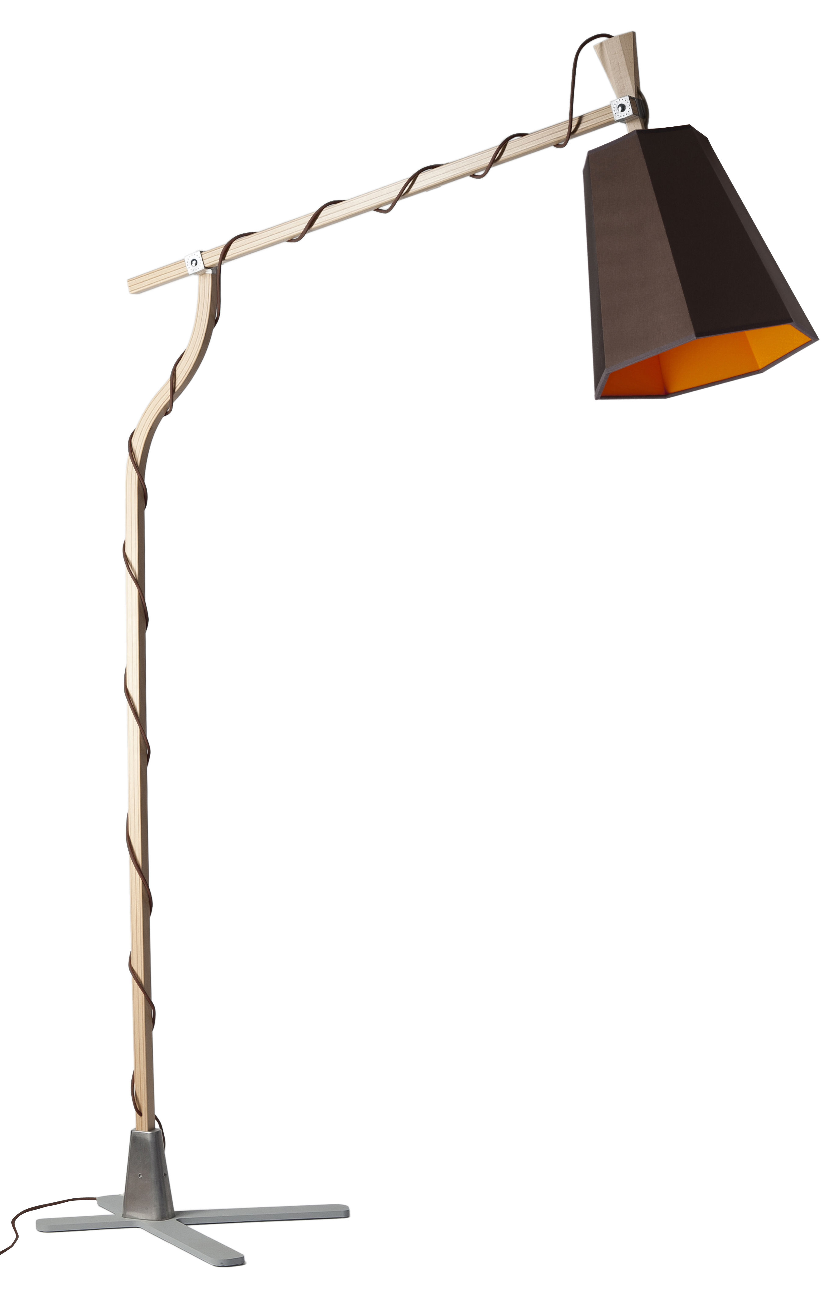 Lighting - Floor lamps - LuXiole Floor lamp - H 225 cm by Designheure - Brown shade / Orange interior / Brown thread - Beechwood, Cotton, Lacquered steel