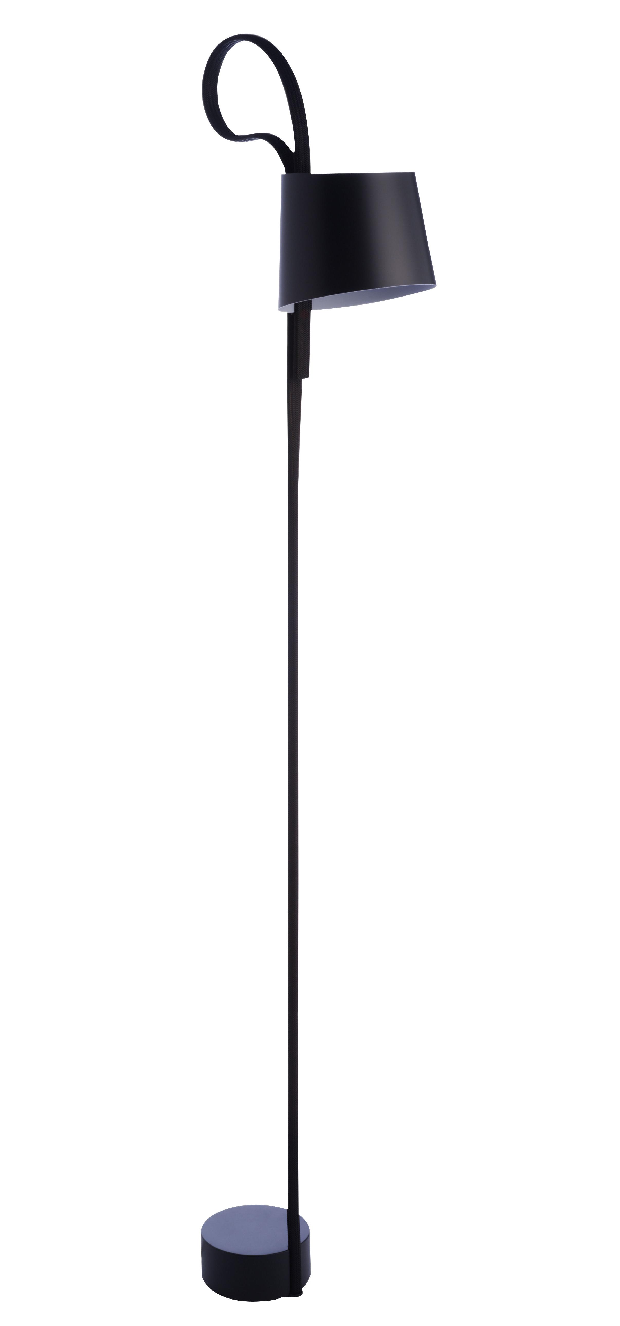 Lighting - Floor lamps - Rope Trick Floor lamp - LED - Adjustable shade by wrong.london - Black - Acrylic, Aluminium, Woven PET