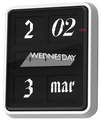 Horloge murale Font Clock / Calendrier - Established & Sons blanc,noir en verre