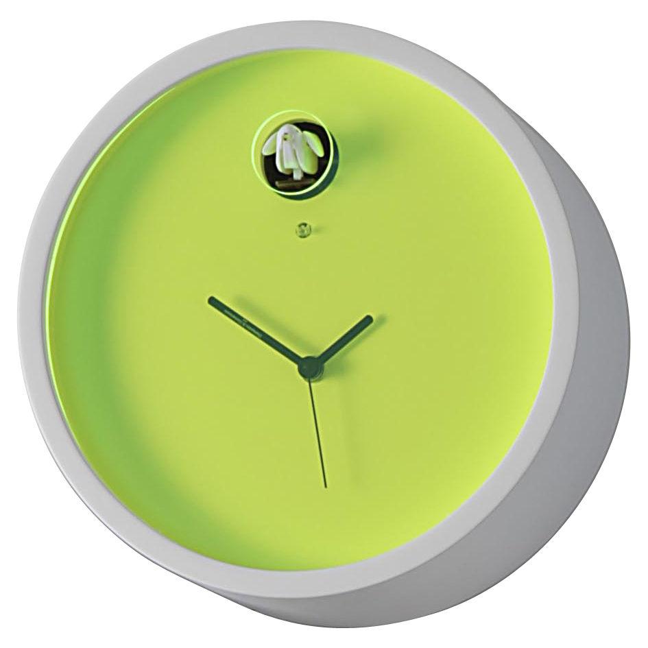 Déco - Horloges  - Horloge murale Plex à coucou - Diamantini & Domeniconi - Cadre blanc / cadran vert - Multiplis de bouleau laqué, Plexiglas