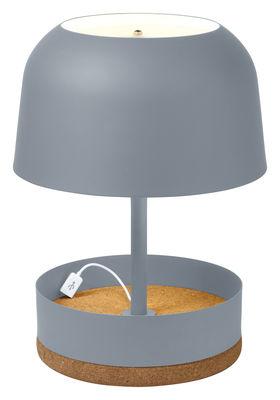 Luminaire - Lampes de table - Lampe de table Hodge-Podge USB / port USB intégré - H 39,5 cm - Forestier - Gris - Métal laqué