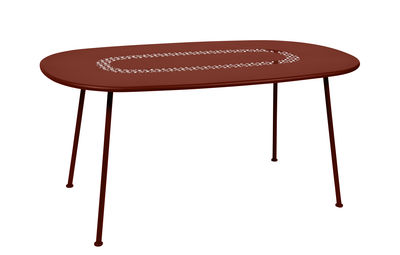 Outdoor - Garden Tables - Lorette Table ovale - / 160 x 90 cm - Perforated metal by Fermob - Ochre red - Lacquered steel