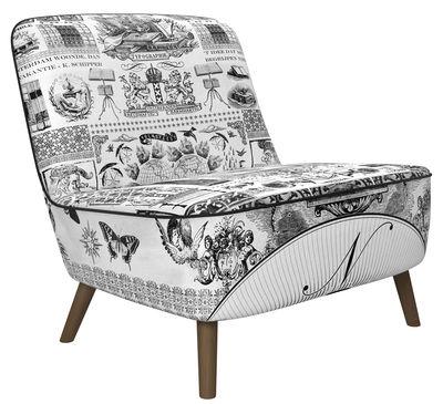 Möbel - Lounge Sessel - Cocktail Lounge Sessel / gepolstert - Moooi - Schwarz & weiß / Füße: Eiche, zimtbraun - Eiche, Gewebe, Schaumstoff, Stahl