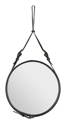 Miroir mural Adnet / Ø 58 cm - Réédition 50' - Gubi noir en cuir