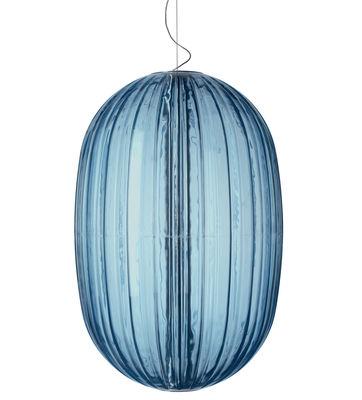 Lighting - Pendant Lighting - Plass Pendant - Ø 75 x H 114 cm by Foscarini - Blue - Roto-moulded polycarbonat