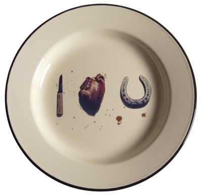 Tableware - Plates - Toiletpaper - I love you Plate by Seletti - I love you - Enamelled metal