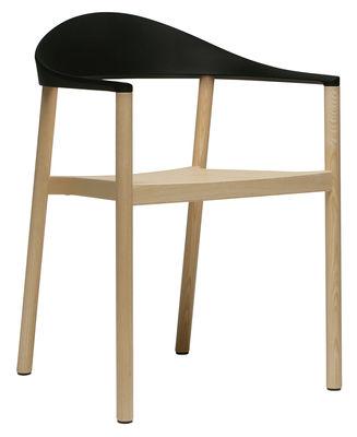 Image of Poltrona impilabile Monza - Struttura in legno naturale di Plank - Nero/Legno naturale - Materiale plastico/Legno