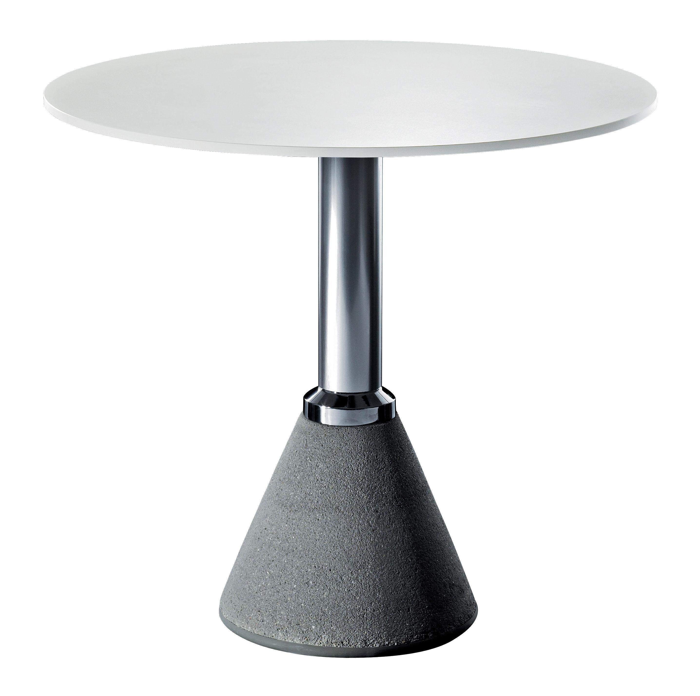 Outdoor - Tische - One Bistrot Runder Tisch Ø 79 cm - Magis - Ø 79 cm - weiß - Aluminium, Beton, HPL