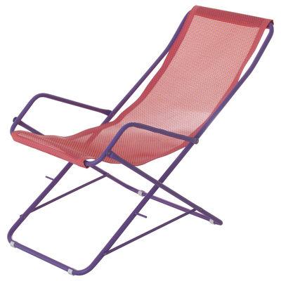 Outdoor - Sdraio, lettini e amache - Sdraio Bahama - / Pieghevole di Emu - Tela rosa / Struttura lilla - Acciaio verniciato, Tela
