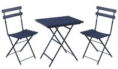 Set table & assises Arc en Ciel / Table 70x50 cm + 2 chaises - Emu bleu foncé en métal