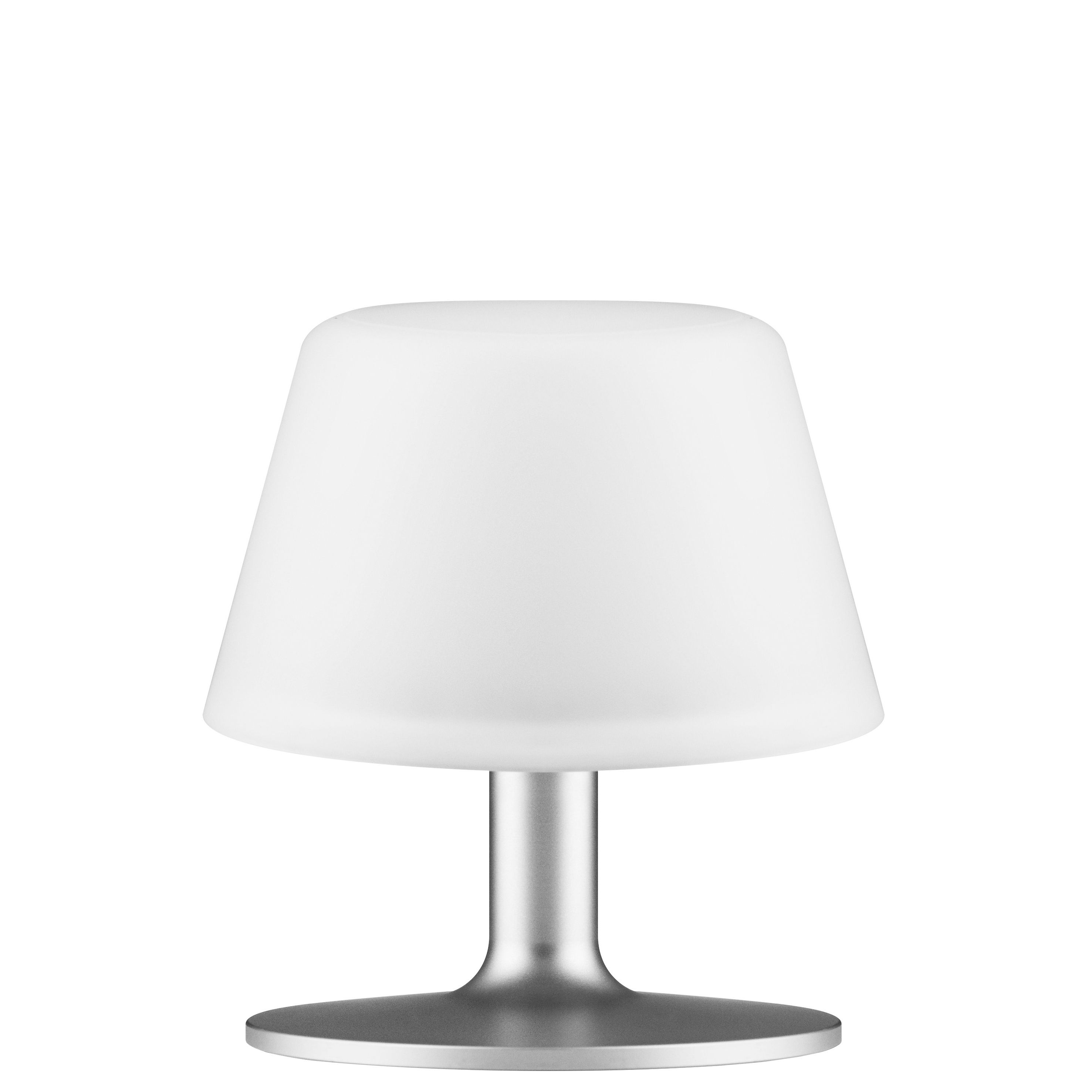 Lighting - Table Lamps - Sunlight Small Solar lamp - H 15 cm by Eva Solo - Small - White & aluminium - Anodized aluminium, Frosted glass