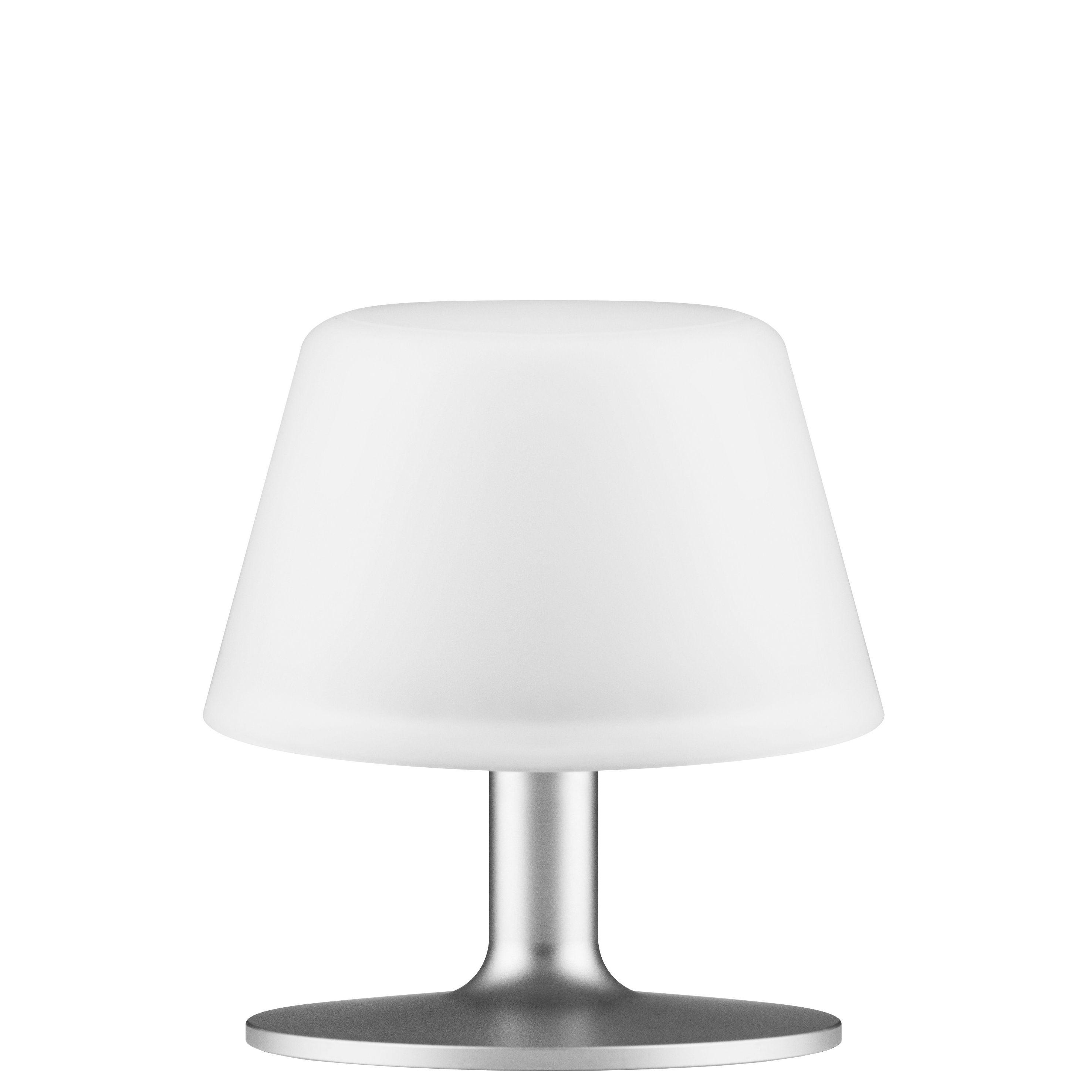 Leuchten - Tischleuchten - Sunlight Small Solarlampe / Solarbetrieb - kabellos - Eva Solo - Small - Weiß & Fuß grau - eloxiertes Aluminium, Verre dépoli