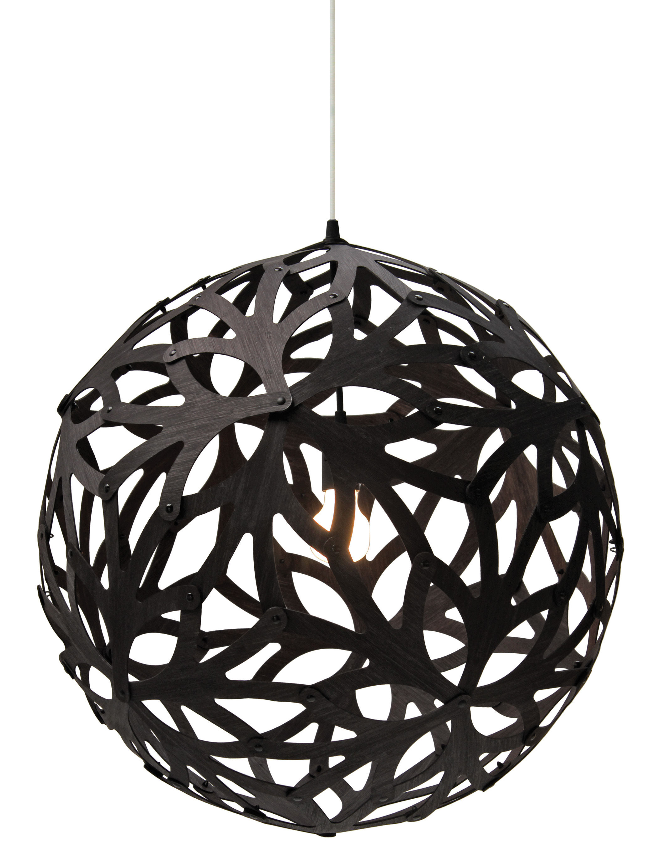 Illuminazione - Lampadari - Sospensione Floral - Ø 60 cm - Nero - Esclusiva web di David Trubridge - Nero / legno naturale - Pino