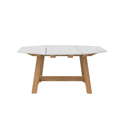 Outdoor - Garden Tables - Rafael Octogonal Square table - / 160 x 160 cm - Marble & brushed teak - 8 people by Ethimo - Brushed teak / White marble - FSC brushed teak, Marble