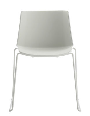 Furniture - Chairs - Aiku Stacking chair - / Sled base by MDF Italia - White & light grey inside / White legs - Painted steel, Polypropylene