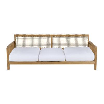 Furniture - Sofas - Synthesis Straight sofa - / L 210 cm - Teak & rope by Unopiu - Teak & natural / Ecru white cushions - Acrylic fabric, Teak, Waprolace synthetic fibre