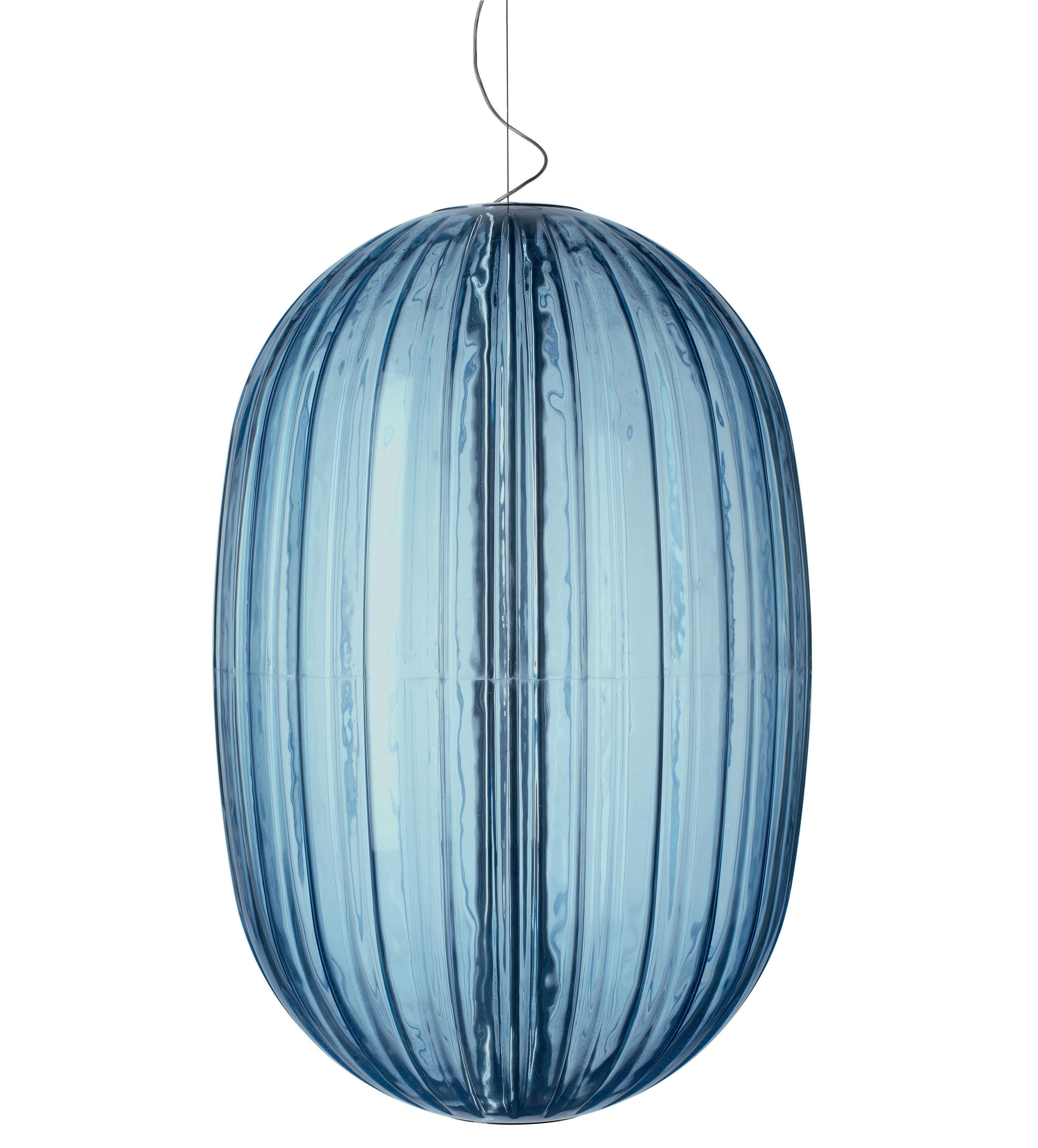 Luminaire - Suspensions - Suspension Plass / Ø 75 x H 114 cm - Foscarini - Bleu - Polycarbonate rotomoulé
